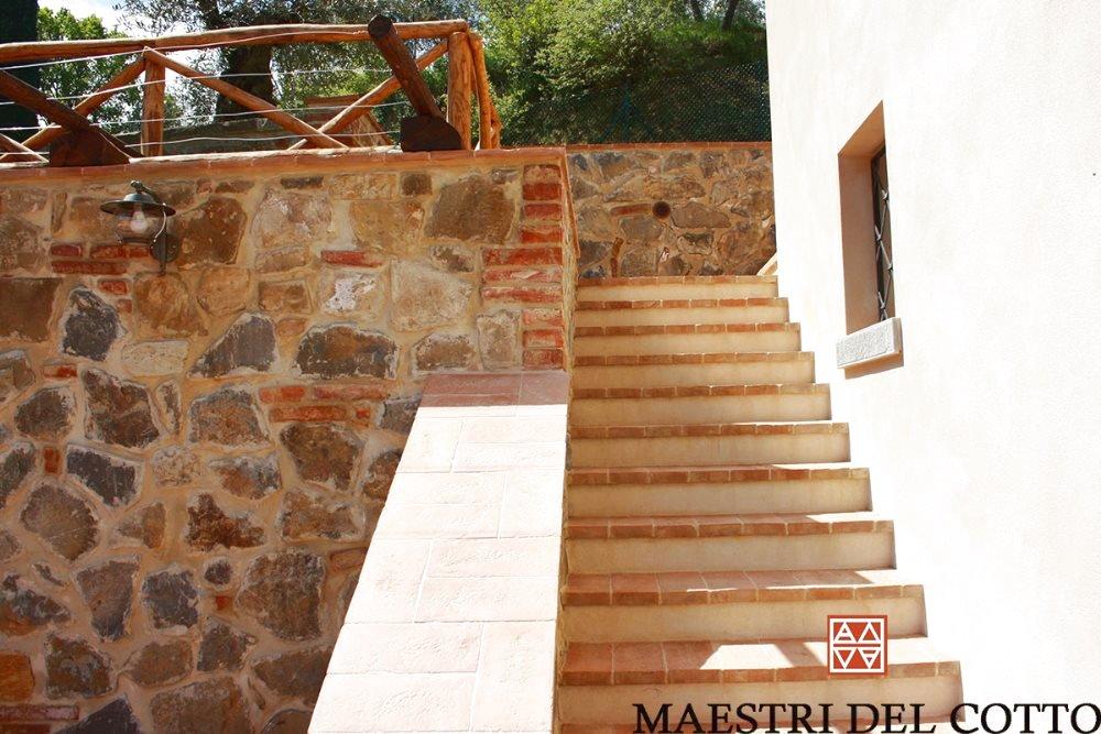 Rivestimento in cotto per scale da esterno cotto fatto a mano e cotto a legna citt della pieve - Cotto per scale ...